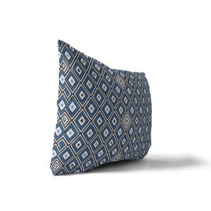 GINA BLUE Indoor|Outdoor Lumbar Pillow By Terri Ellis