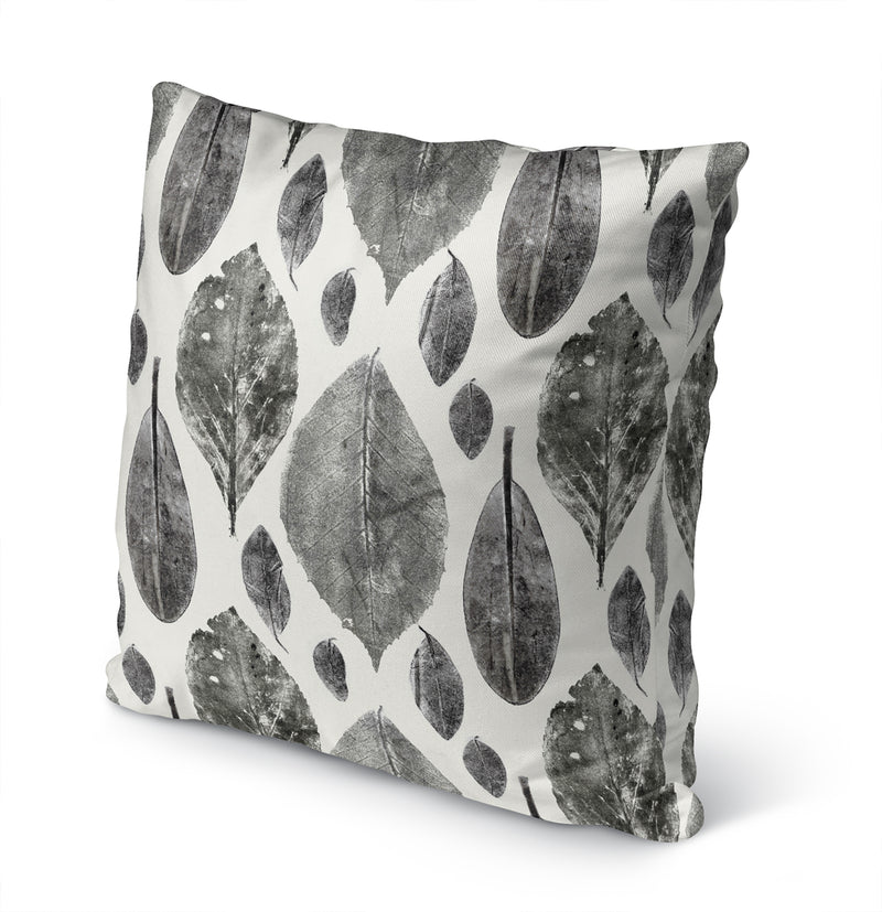 LEAF LITTER CHARCOAL Indoor|Outdoor Pillow By Becky Bailey