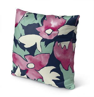 TRILLIUM GREEN AND PINK Indoor|Outdoor Pillow By Becky Bailey