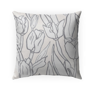 TULIP FIELD GREY Indoor|Outdoor Pillow By Becky Bailey