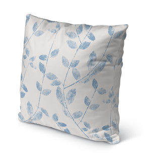 VINE LEAF IN BLUE Indoor|Outdoor Pillow By Becky Bailey