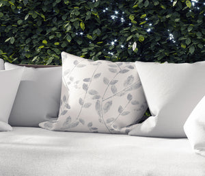 VINE LEAF IN GREY Indoor|Outdoor Pillow By Becky Bailey