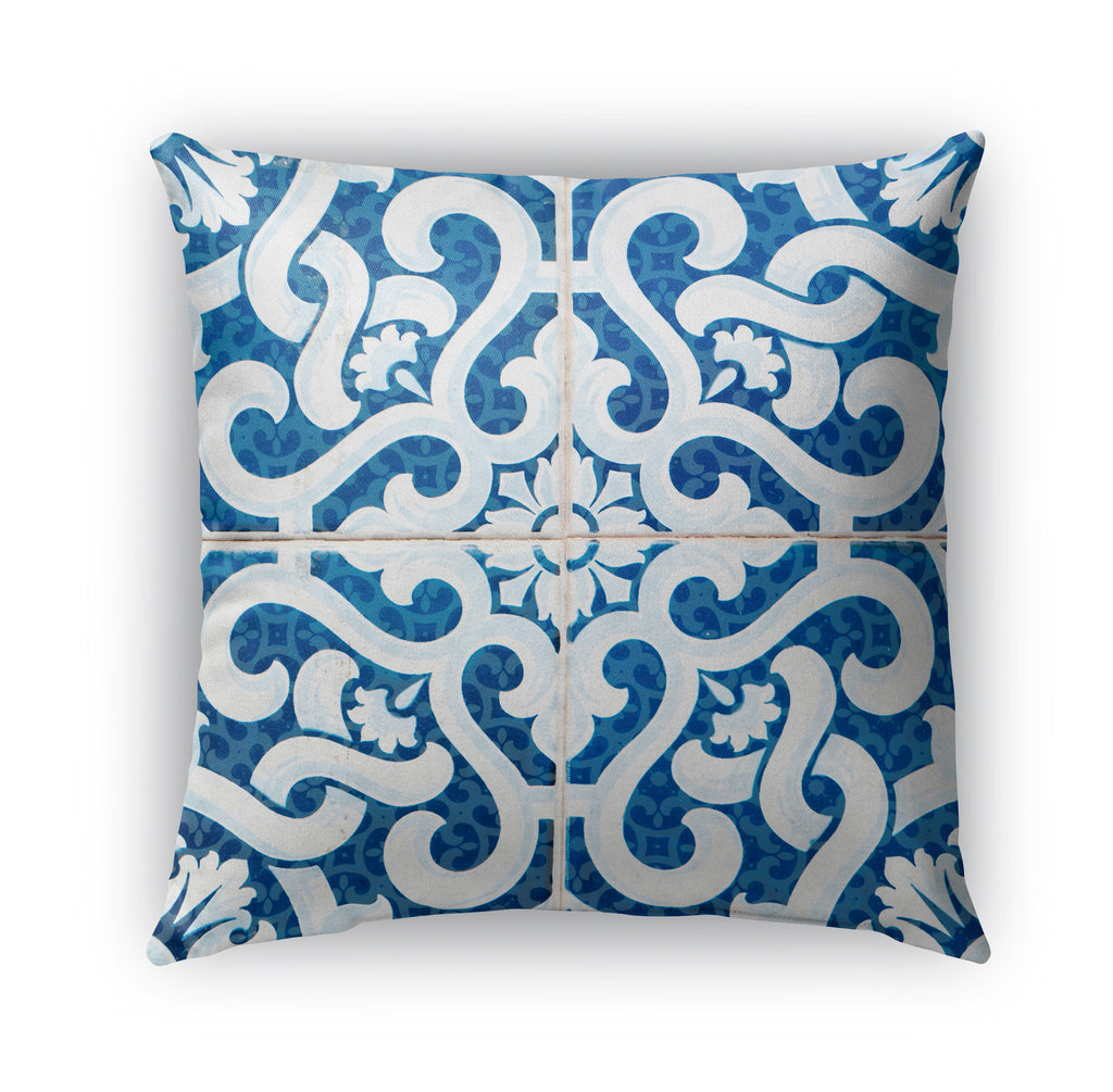 LACE BLUE 2 Indoor|Outdoor Pillow By Catia Keck
