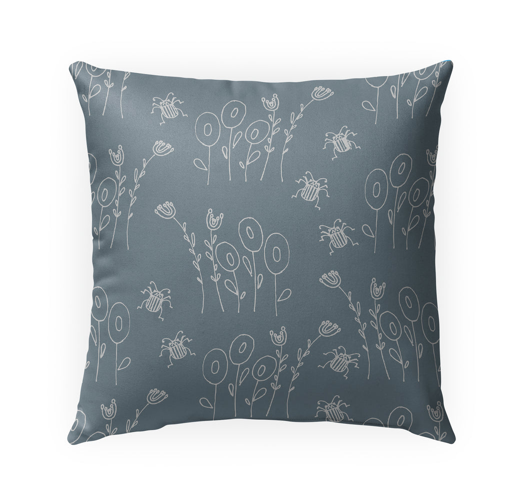 BUG BLUE Indoor|Outdoor Pillow By Anne Cote