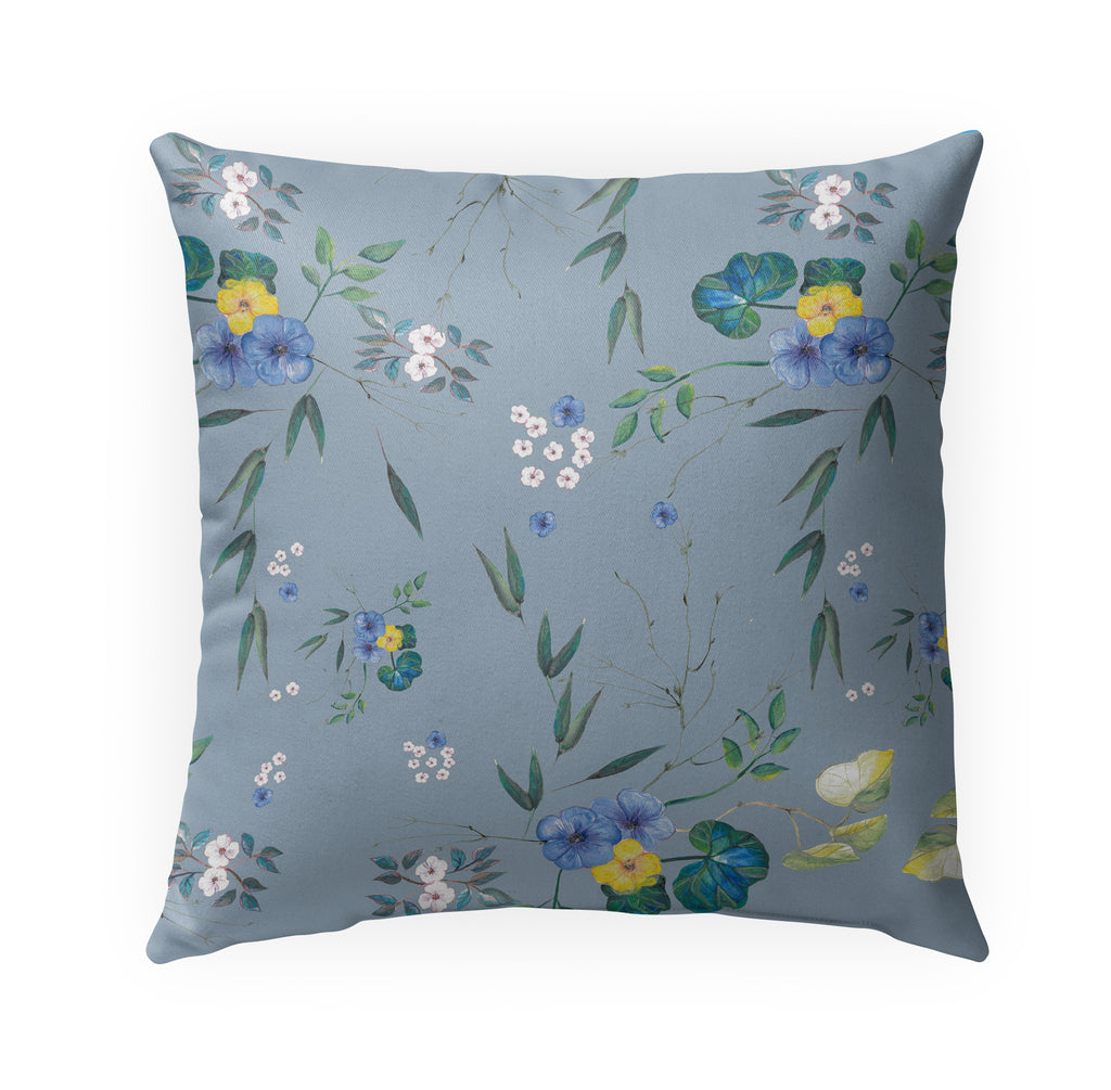 FLORAL BLUE Indoor|Outdoor Pillow By Anne Cote