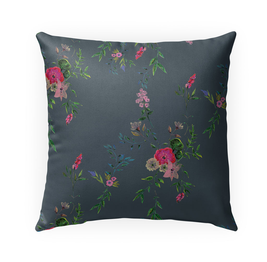 FLORAL DARK GREY Indoor|Outdoor Pillow By Anne Cote