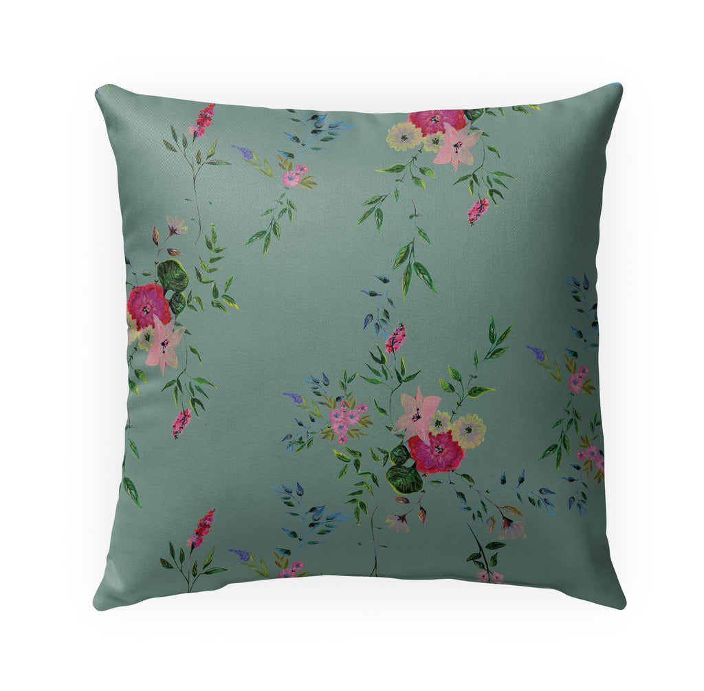 FLORAL GREEN Indoor|Outdoor Pillow By Anne Cote