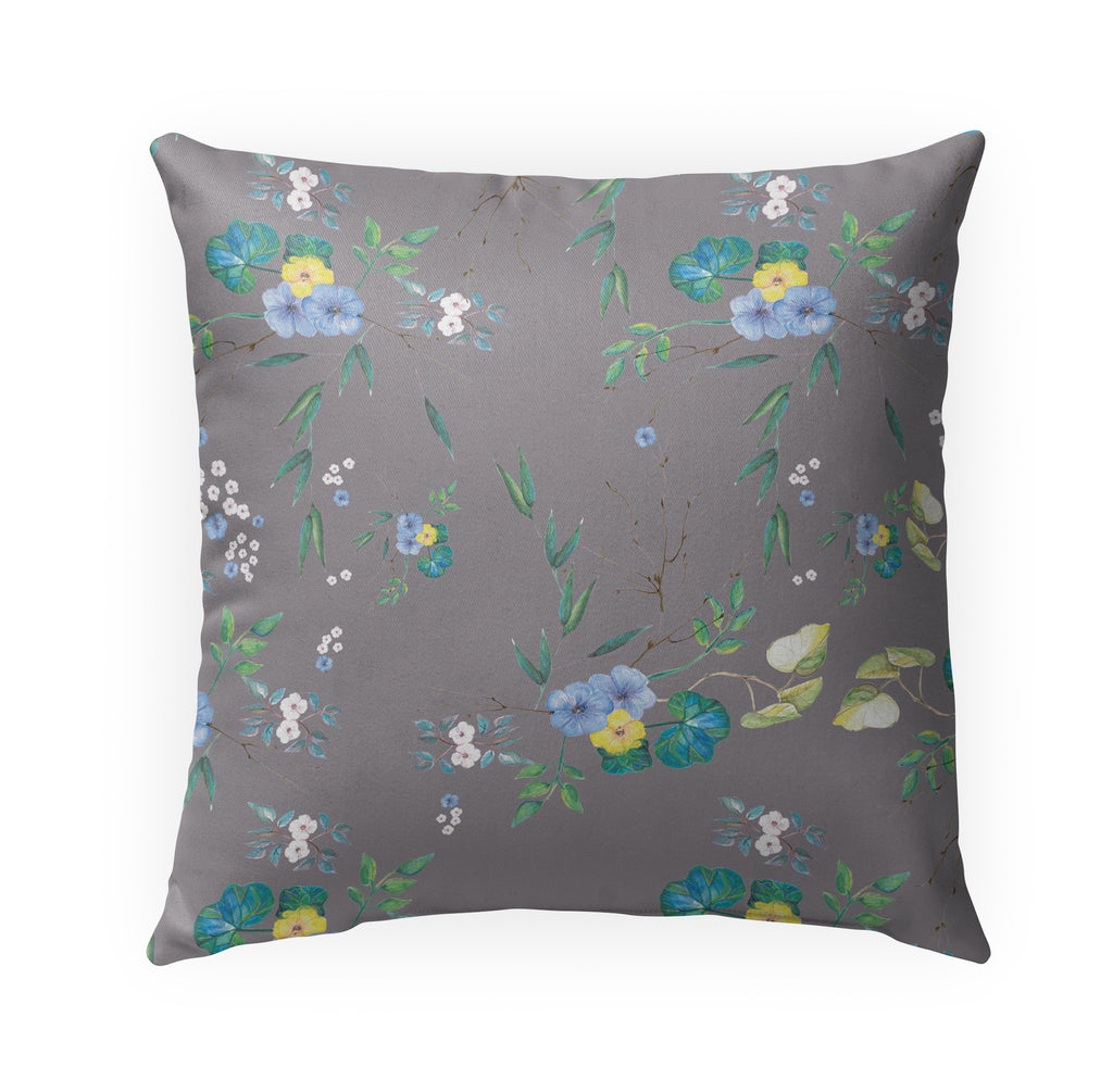 FLORAL GREY Indoor|Outdoor Pillow By Anne Cote