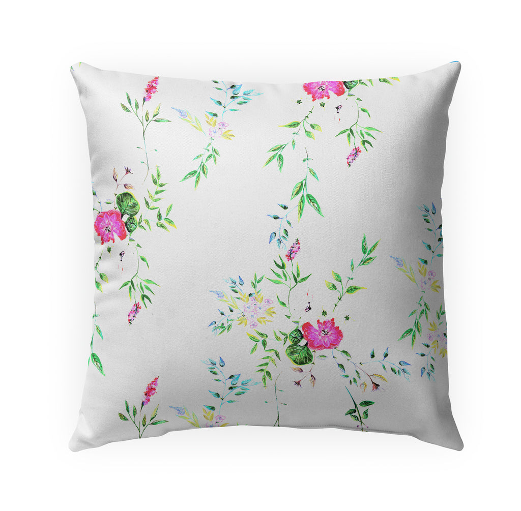 FLORAL WHITE Indoor|Outdoor Pillow By Anne Cote