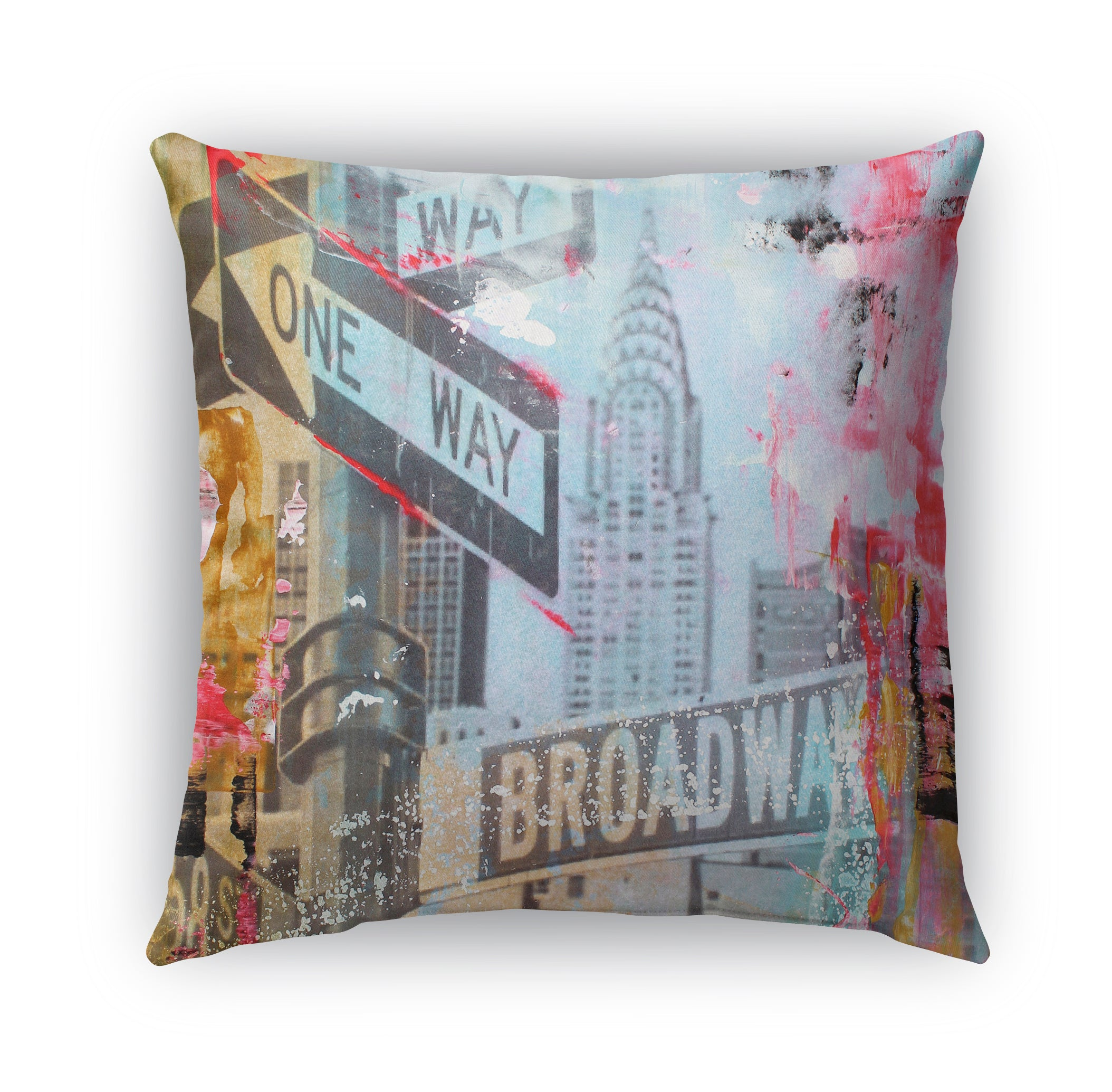 NYC ABSTRACT ONE WAY BROADWAY Indoor|Outdoor Pillow By Jolina Anthony