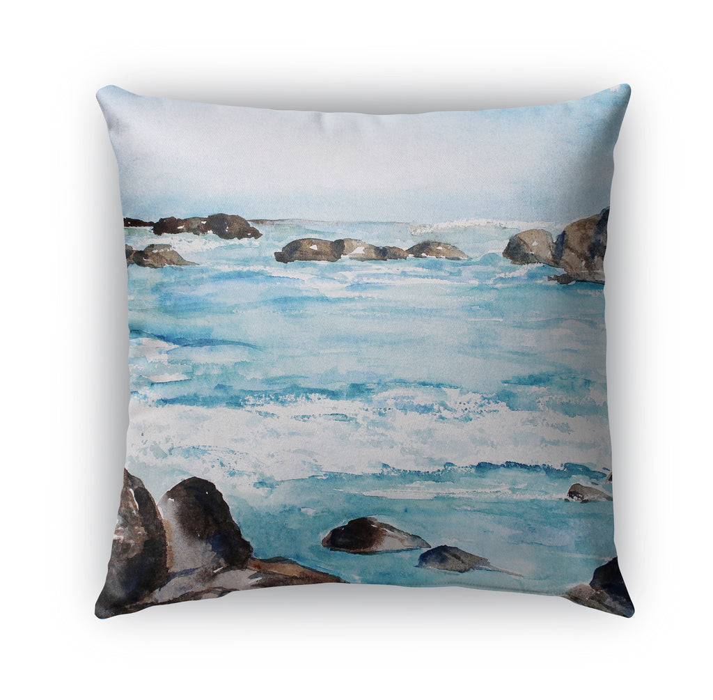 ROCKY WAVES Indoor|Outdoor Pillow By Jayne Conte