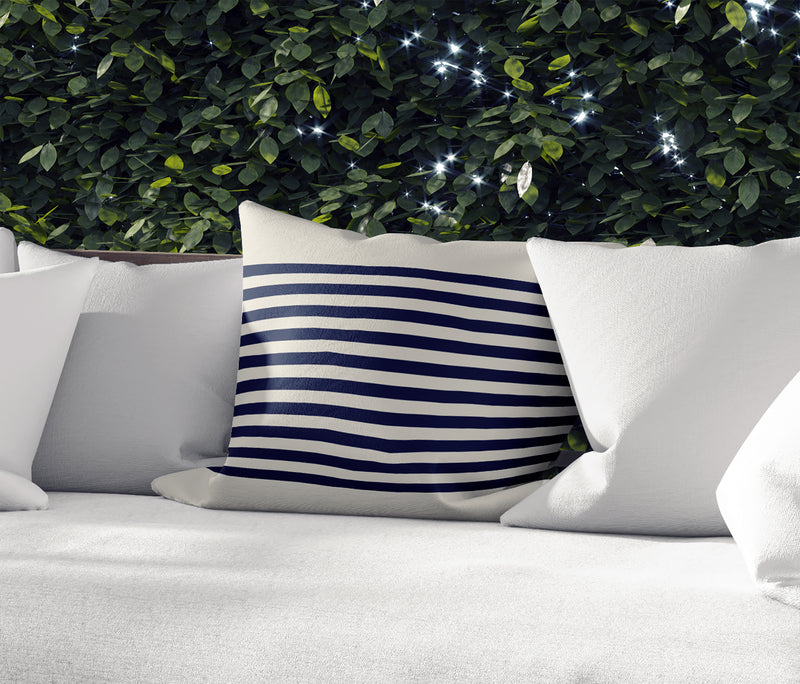 GRELLY IVORY & NAVY Indoor|Outdoor Pillow By Kavka Designs