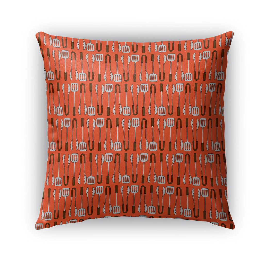 TOOLS BBQ PATTERN Indoor|Outdoor Pillow By Northern Whimsy