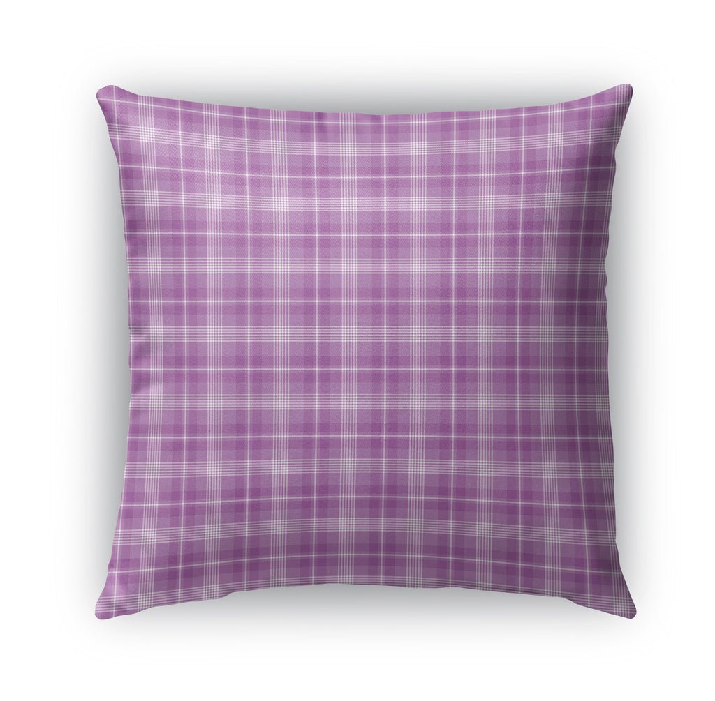 PURPLE KIDS PLAID Indoor|Outdoor Pillow By Northern Whimsy