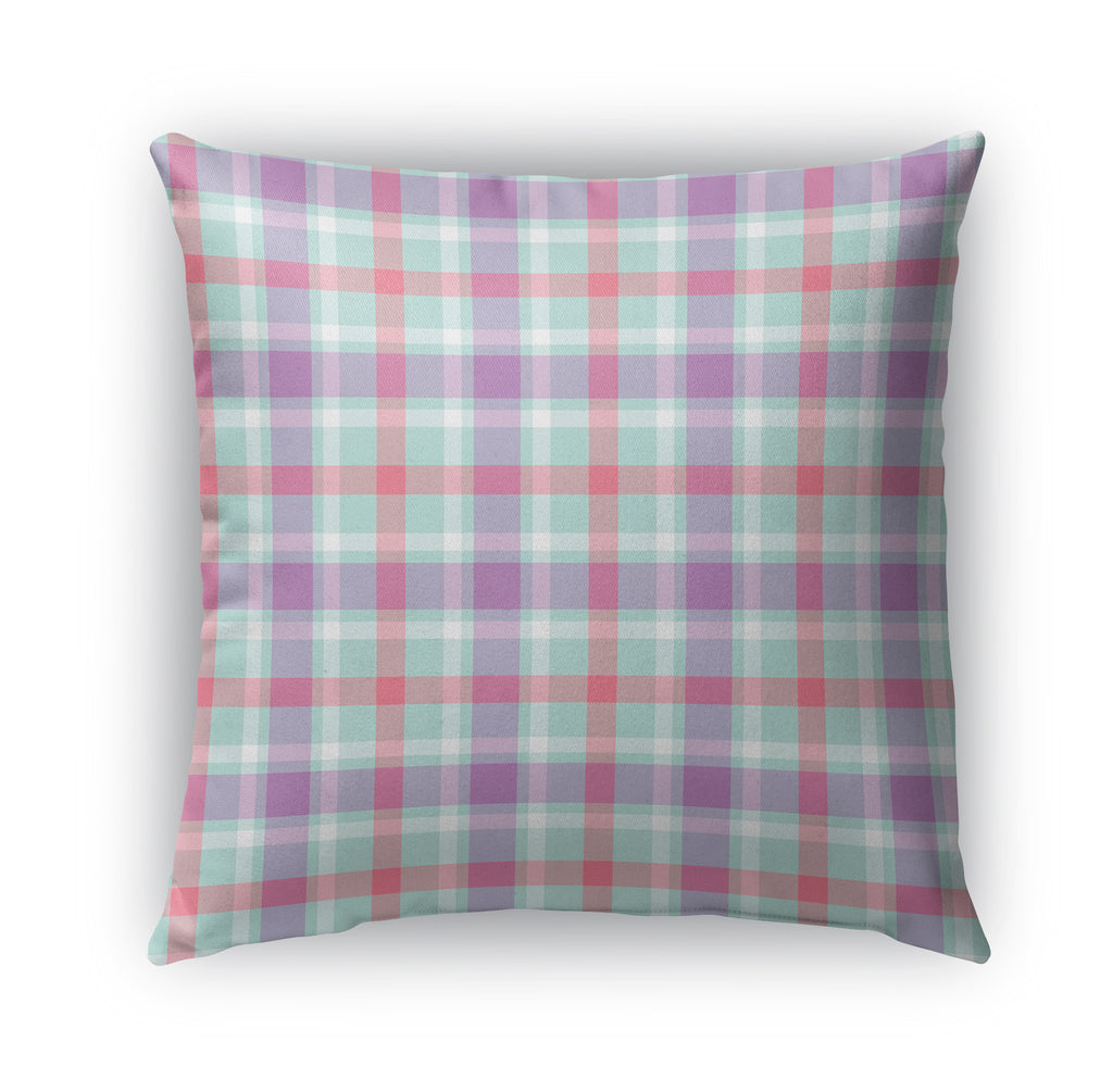 PURPLE RED MINT KIDS PLAID Indoor|Outdoor Pillow By Northern Whimsy