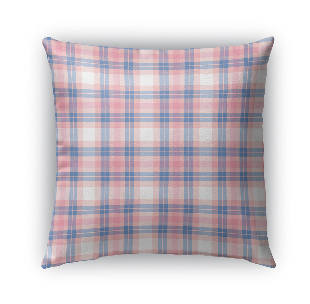 Pink and Blue Baby Plaid Indoor|Outdoor Pillow By Northern Whimsy