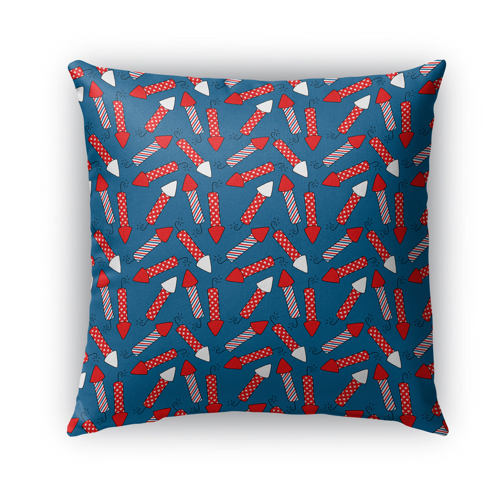 PATRIOTIC FIRECRACKERS ON BLUE PATTERN Indoor|Outdoor Pillow By Northern Whimsy