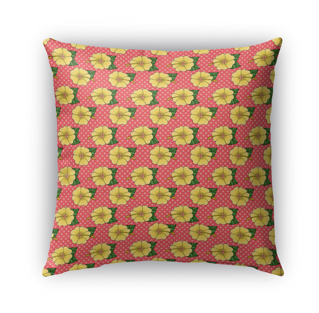YELLOW HIBISCUS PATTERN Indoor|Outdoor Pillow By Northern Whimsy