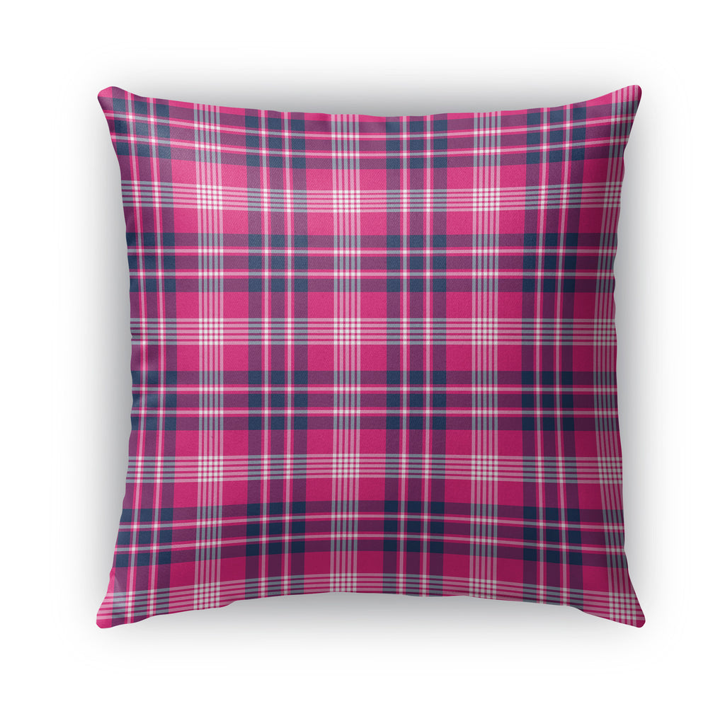 PINK AND BLUE FEMININE PLAID Indoor|Outdoor Pillow By Northern Whimsy