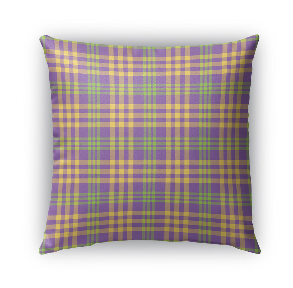 PURPLE YELLOW AND LIME PLAID Indoor|Outdoor Pillow By Northern Whimsy