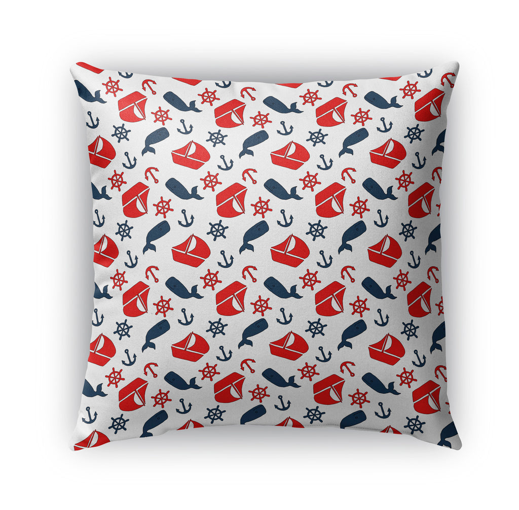 NAUTICAL SAILBOAT WHALE AND ANCHORS PATTERN Indoor|Outdoor Pillow By Northern Whimsy