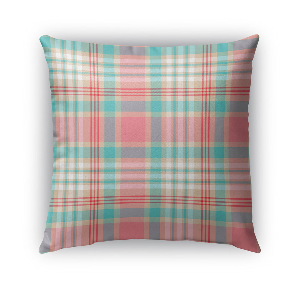 PINK MINT AND RED CHRISTMAS PLAID Indoor|Outdoor Pillow By Northern Whimsy