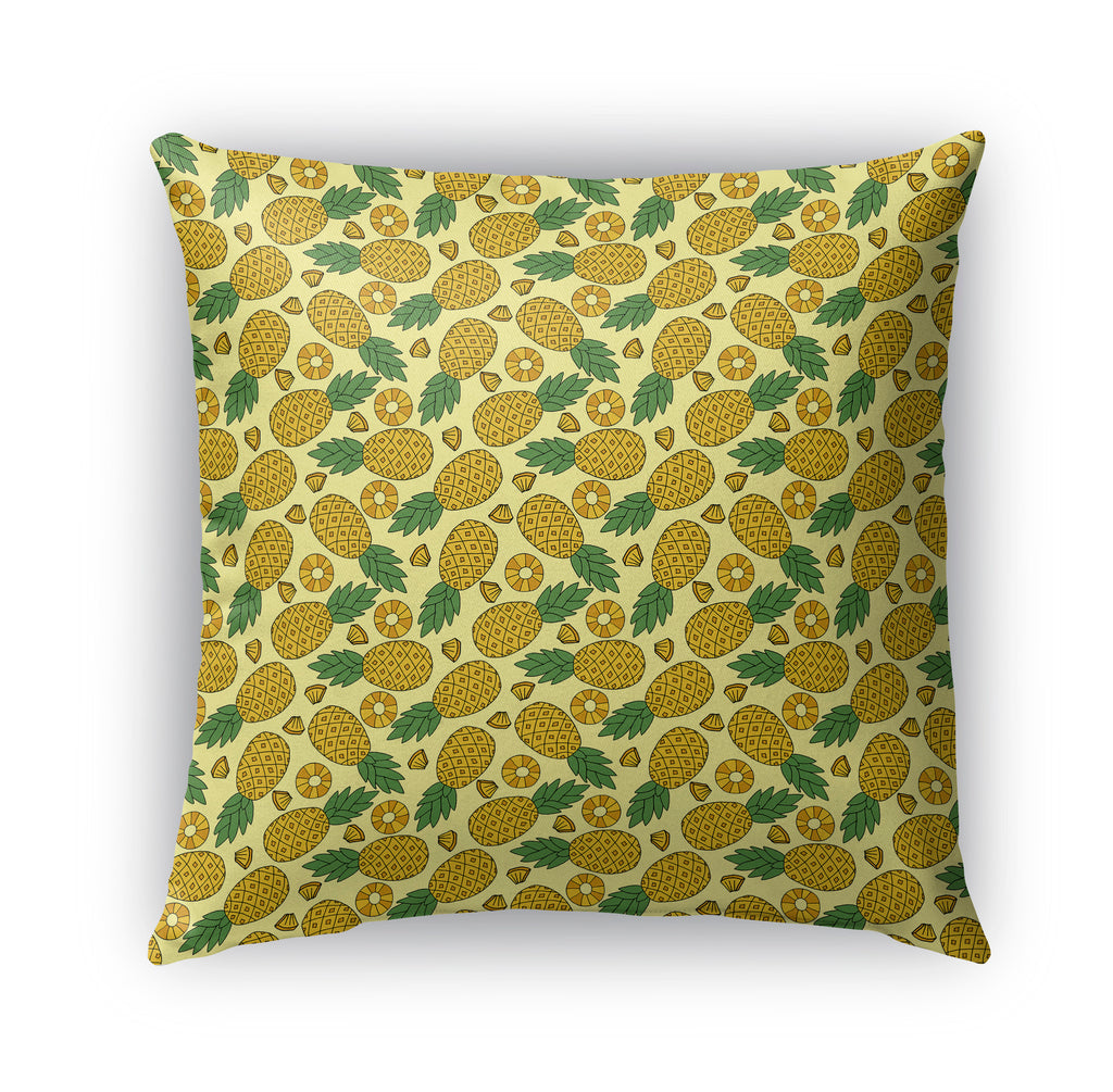 YELLOW PINEAPPLES AND SLICES PATTERN Indoor|Outdoor Pillow By Northern Whimsy