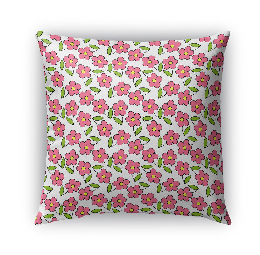 PINK FLOWER PATTERN ON WHITE Indoor|Outdoor Pillow By Northern Whimsy