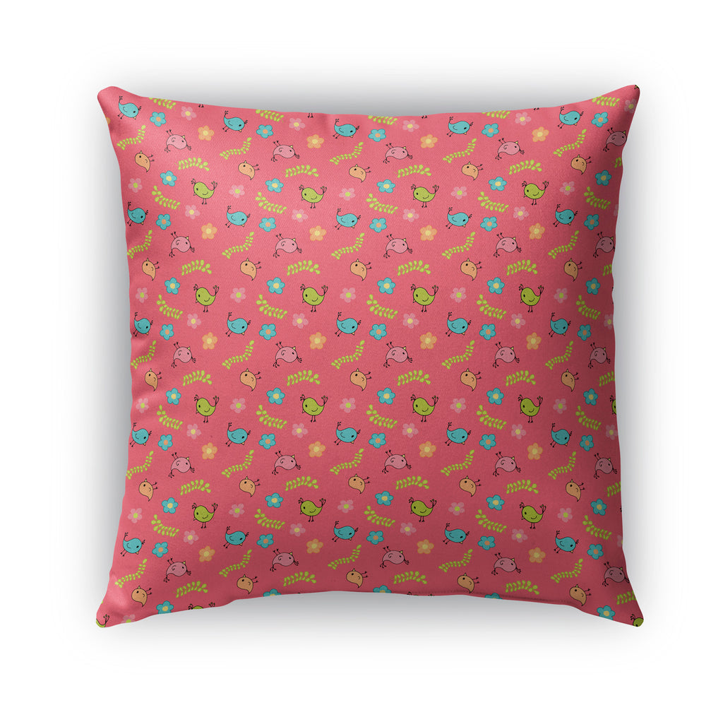 SPRING BIRDS PATTERN ON PINK Indoor|Outdoor Pillow By Northern Whimsy