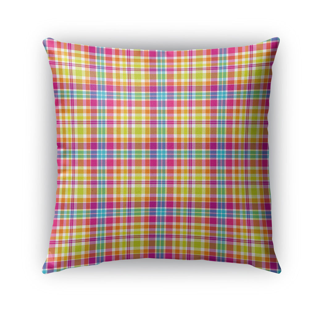 TROPICAL RAINBOW PLAID Indoor|Outdoor Pillow By Northern Whimsy