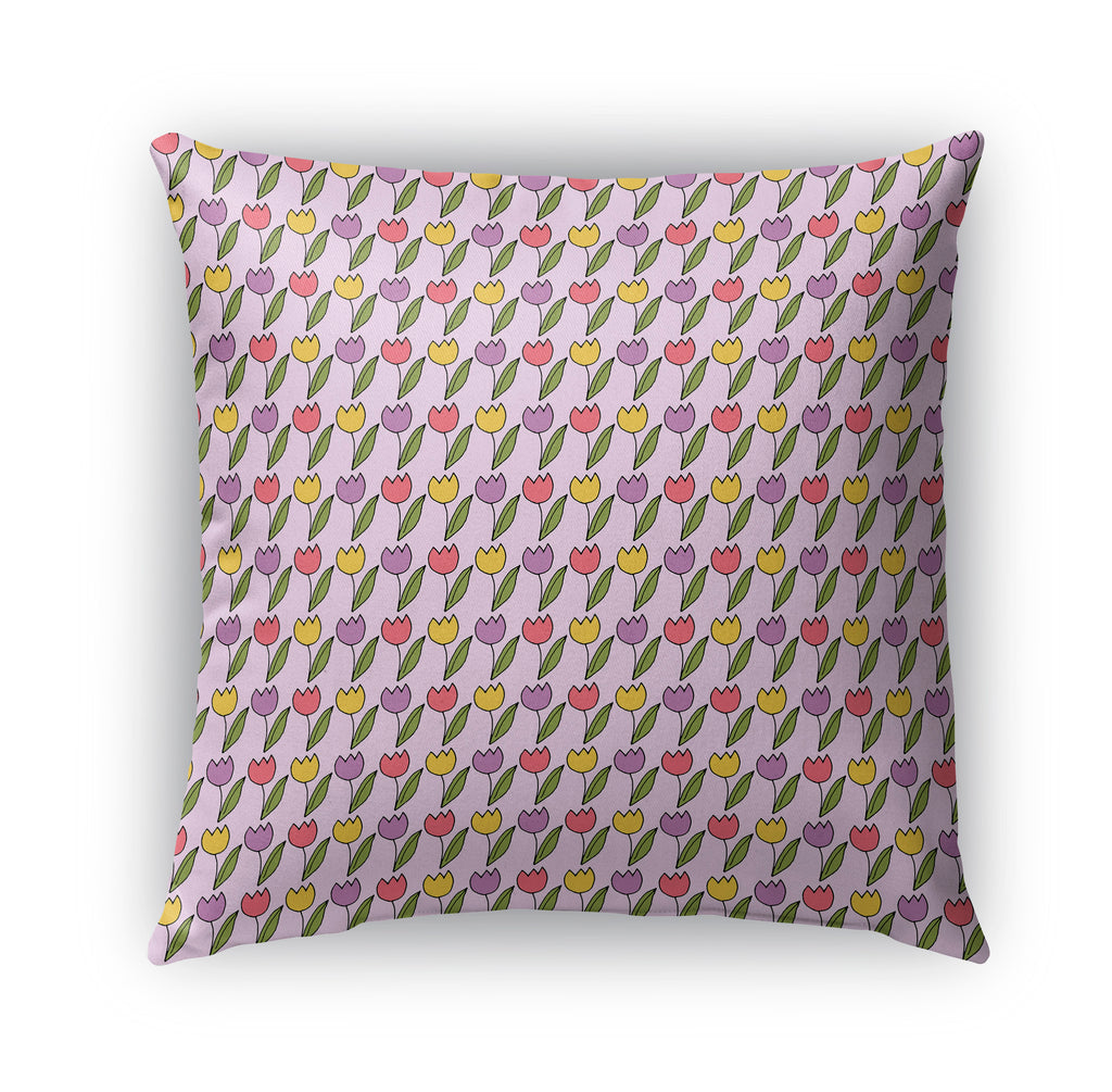TULIP GARDEN PATTERN Indoor|Outdoor Pillow By Northern Whimsy