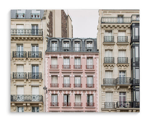 THE PINK APARTMENT BUILDING, PARIS Wrapped Canvas By David Phillips