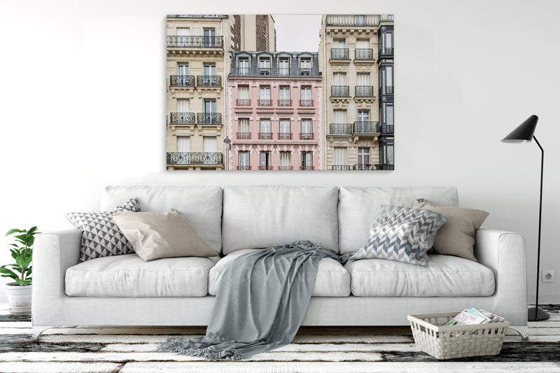 THE PINK APARTMENT BUILDING, PARIS Canvas Art By David Phillips