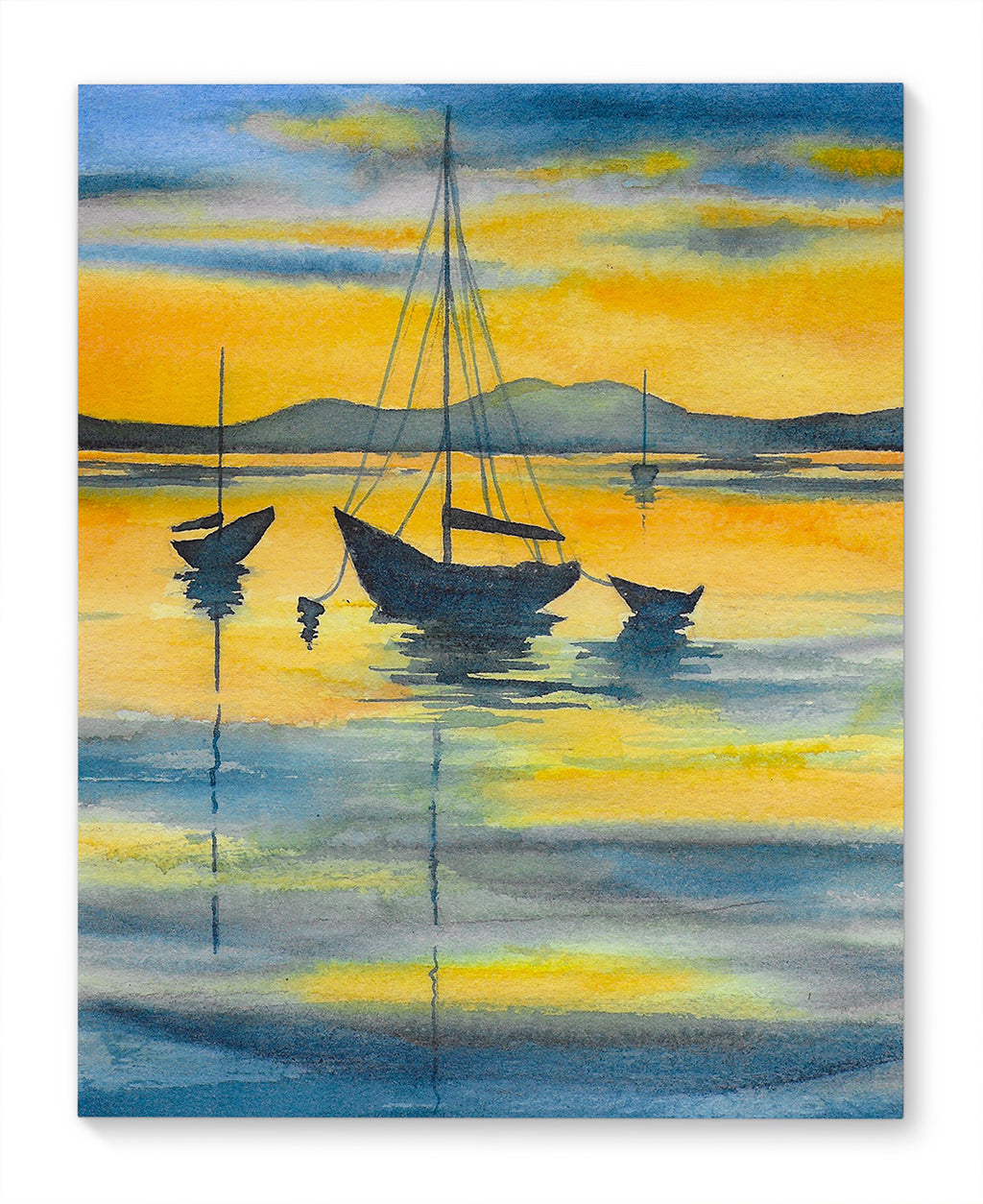 BOATS IN ORANGE SUNSET Canvas Art By Jayne Conte