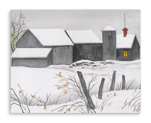 GREY BARNS IN SNOW Canvas Art By Jayne Conte