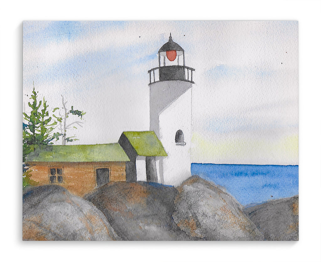 LIGHTHOUSE WITH ROCKS Canvas Art By Jayne Conte