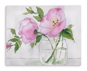 PINK FLOWER IN JAR Canvas Art By Jayne Conte