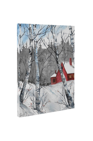 RED BARN IN SNOW Canvas Art By Jayne Conte