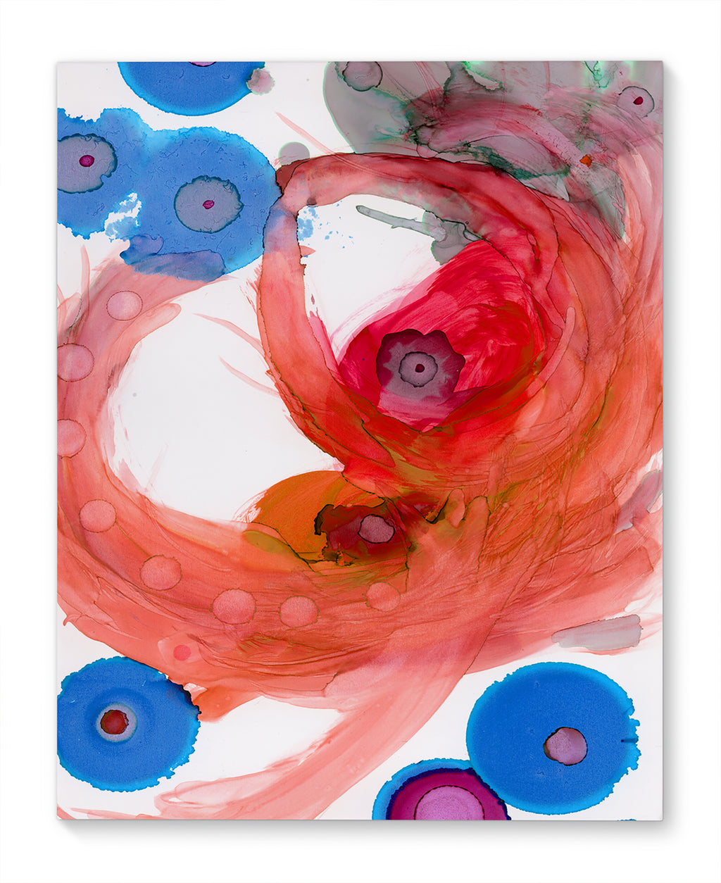 SWIRLS PINK AND RED Canvas Ar By Olivia St. Claire