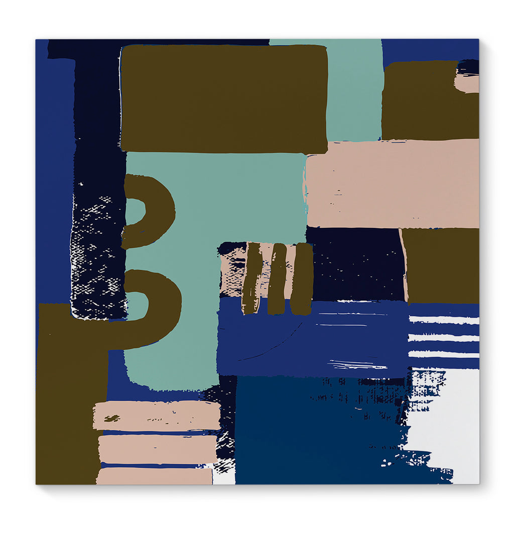 BLOCK BLUE Premium Canvas Gallery Wraps By Becca Garrison