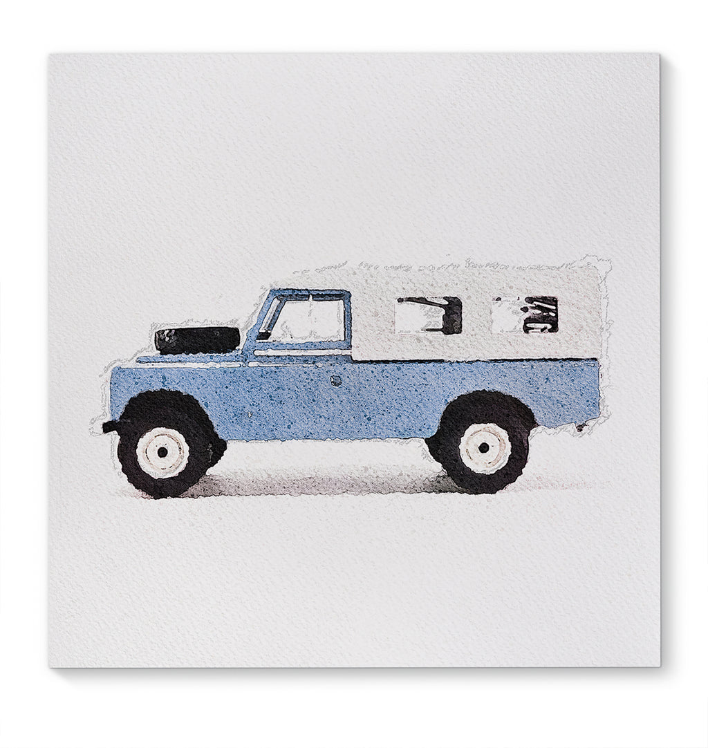 BASS LIGHT BLUE LAND ROVER Canvas Art By Terri Ellis
