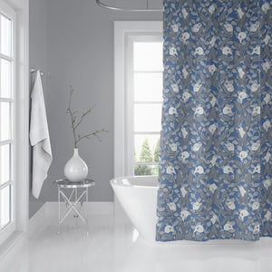 CALLA LILY FLORAL BLUE Shower Curtain By Becky Bailey