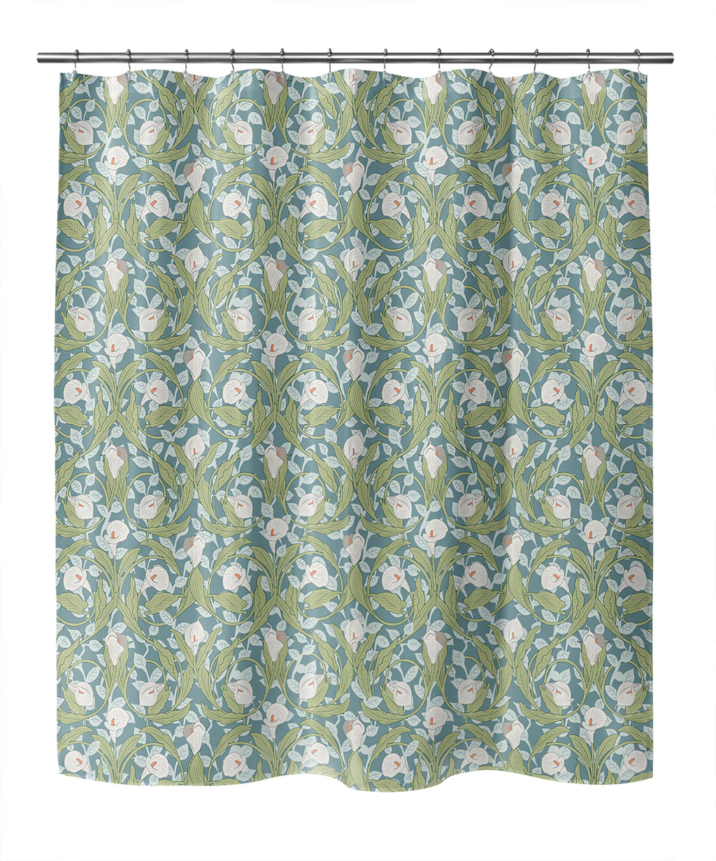CALLA LILY FLORAL GREEN Shower Curtain By Becky Bailey
