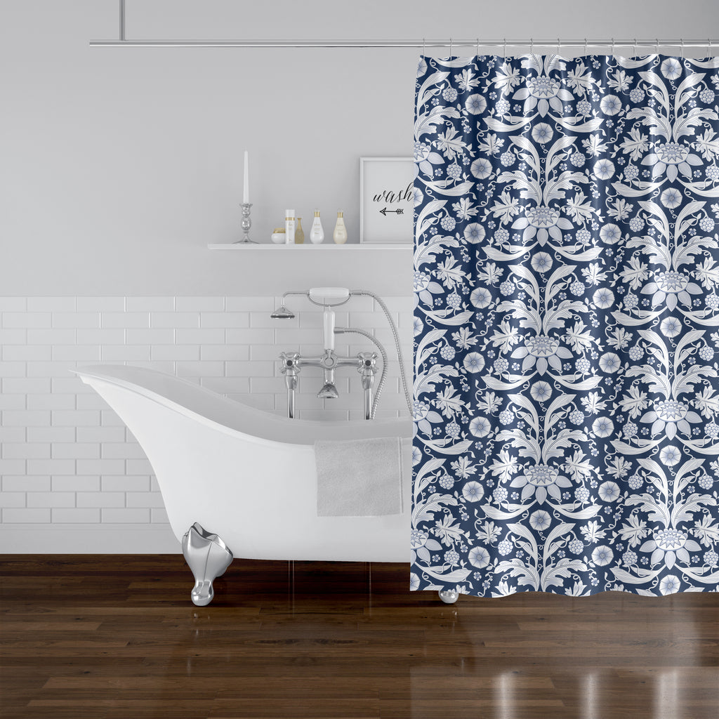 FLORAL DAMASK BLUE Shower Curtain By Becky Bailey