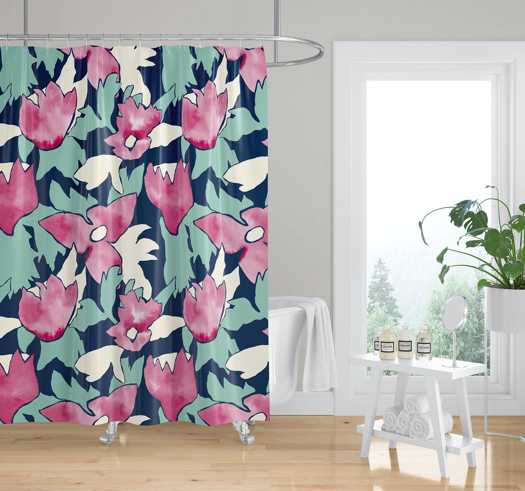 TRILLIUM GREEN AND PINK Shower Curtain By Becky Bailey
