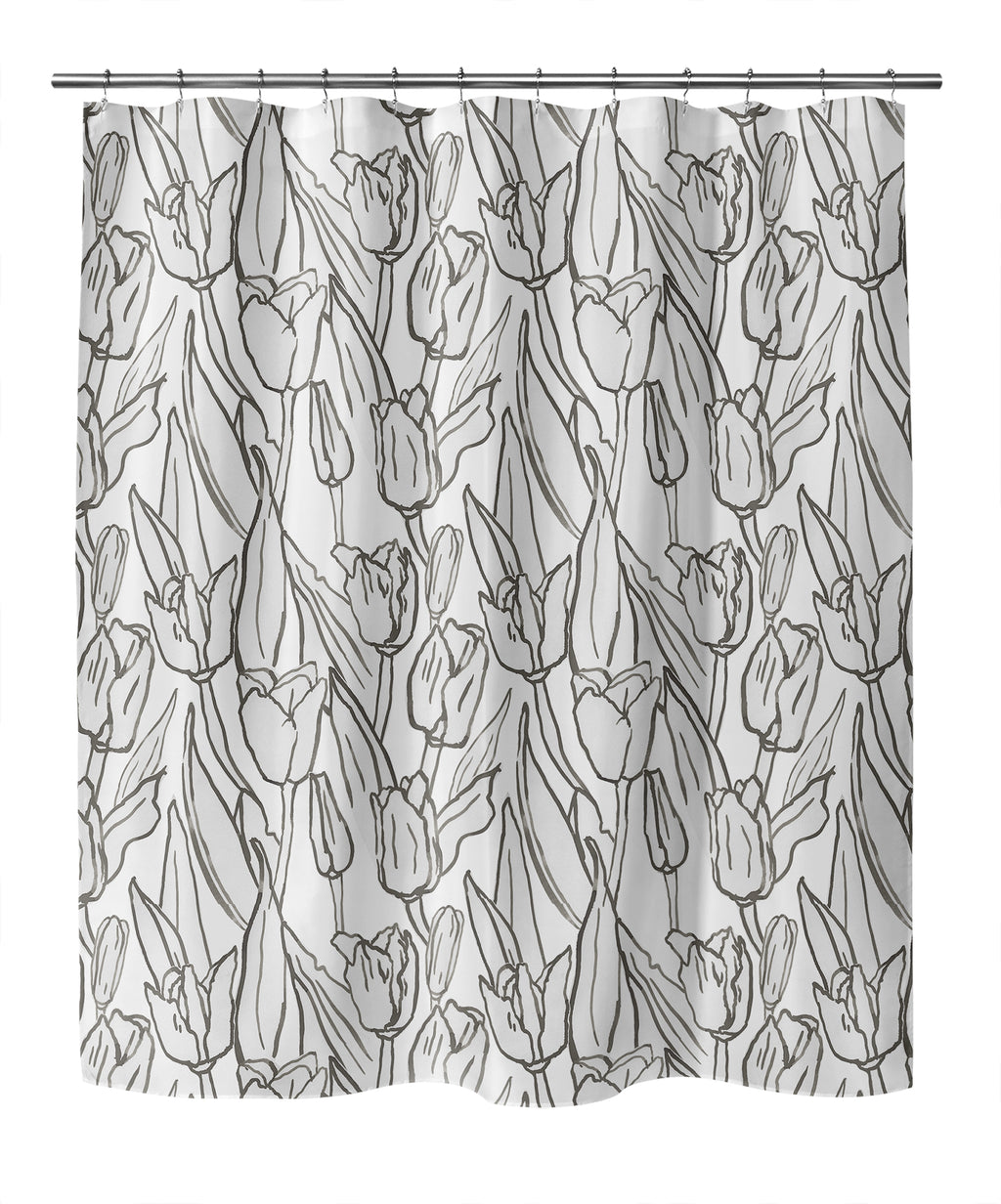 TULIP FIELD BW Shower Curtain By Becky Bailey