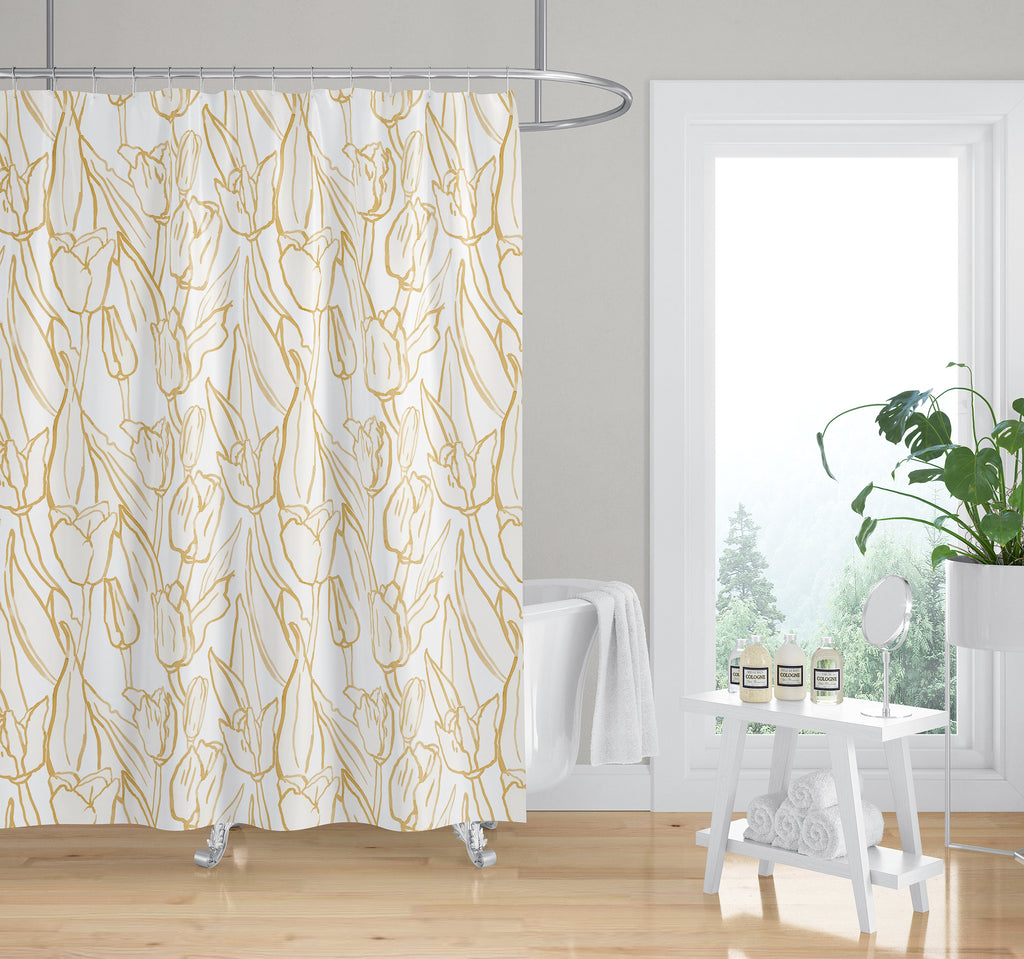 TULIP FIELD GOLD Shower Curtain By Becky Bailey