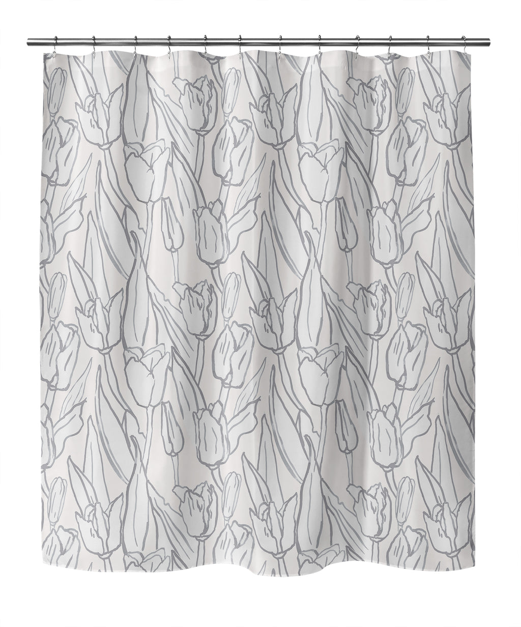 TULIP FIELD GREY Shower Curtain By Becky Bailey