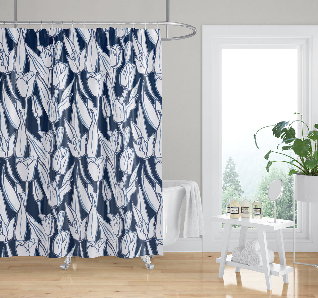 TULIP FIELD NAVY Shower Curtain By Becky Bailey