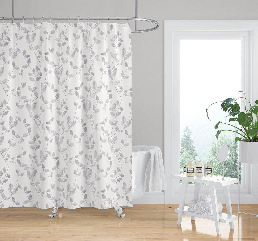 VINE LEAF IN GREY Shower Curtain By Becky Bailey